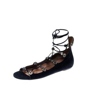 Alaia Blue Suede Eyelet Detail Tie Up Flat Sandals Size 41