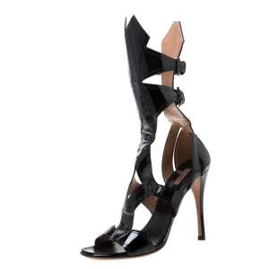Alaia Black Patent Leather Open Toe Gladiator Sandals Size 38.5