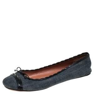 Alaia Black/Blue Denim Bow Ballet Flats Size 37