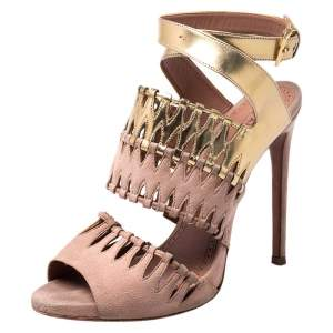 Alaia Beige Suede And Metallic Gold Leather Cut Out Open Toe Ankle Strap Sandals Size 39