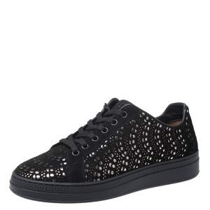 Alaia Black/Silver Laser Cut Suede Low Top Sneakers Size 38