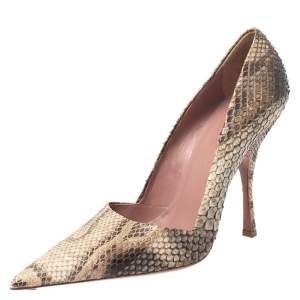 Alaia Beige/Black Python Leather Pointed Toe Pumps Size 39