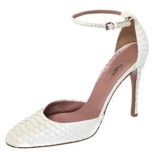حذاء كعب عالي علية حزام جلد ثعبان أبيض مقاس 39
