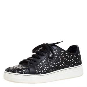 Alaia Black Laser Cut Leather Low Top Sneakers Size 36