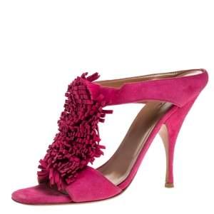 Alaia Pink Suede Fringe Slide Sandals Size 39