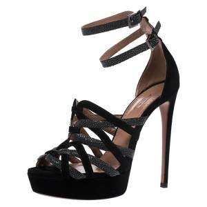 Alaia Black/Grey Suede And Stingray Leather Strappy Platform Double Ankle Strap Sandals Size 39