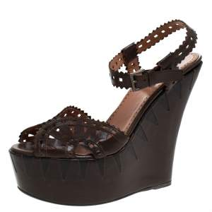 Alaia Brown Cutout Leather Wedge Sandals Size 38
