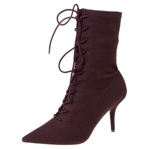 Yeezy Season 5 Burgundy Stretch Canvas Lace Up Pointed Toe Boots Size 39.5