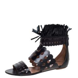 Alaia Black Leather and Straw Cut Out Fringes Flat Sandals Size 39