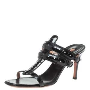 Alaia Black Patent Leather Open Toe Sandals Size 39