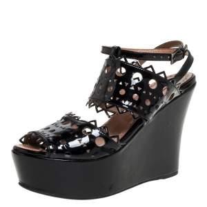 Alaia Black Patent Leather Cutout Platform Wedge Slingback Sandals Size 35