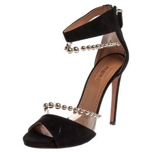 Alaia Black Suede And Pvc Bead Embellished Ankle Strap Sandals Size 37