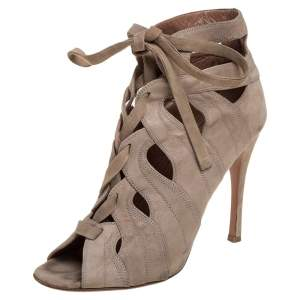 Alaia Beige Cut Out Suede Lace Up Peep Toe Ankle Booties Size 37.5