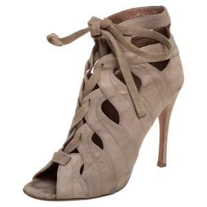 حذاء بوت كاحل علايا رباط علوي مقدمة مفتوحة  سويدي مفرغ بيج مقاس 37.5