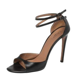 Alaia Black Leather Ankle Strap Sandals Size 38