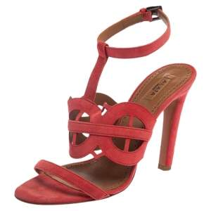 Alaia Pink Suede Cut Out Open Toe Sandals Size 38.5