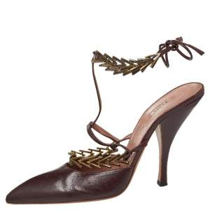 Alaia Burgundy Leather Ankle Strap Pumps Size 39