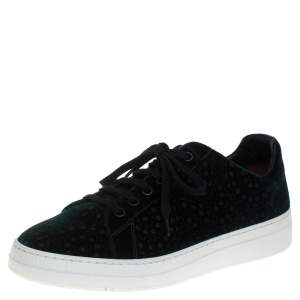 Alaia Green Laser Print Suede Low Top Sneakers Size 39