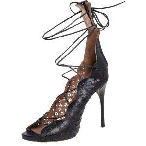 Alaia Black Laser Cut Leather Gladiator Ankle Wrap Sandals Size 37