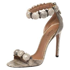 Alaia Multicolor Python Chamois Bombe Ankle Cuff Sandals Size 36