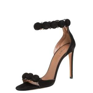 Alaïa Black Suede Bombe Sandals Size 38