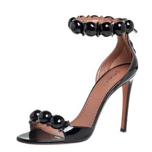 Alaia Black Patent Leather Chamois Bombe Ankle Cuff Sandals Size 37.5