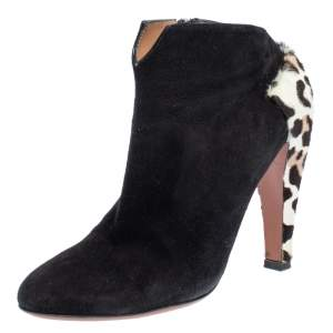 Alaia Black Suede And Leopard Print Calf Hair Booties Size 37