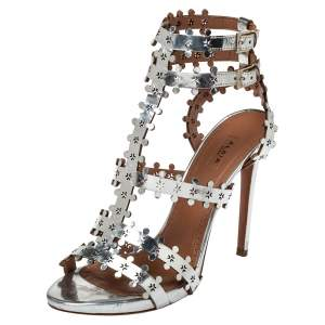 Alaia Silver Patent Leather Caged Sandals Size 41