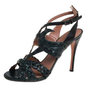 Alaia Grey/Black Braided Leather Ankle Strap Sandals Size 39.5