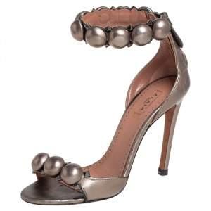Alaia Metallic Grey Bombe Ankle Cuff Sandals Size 35