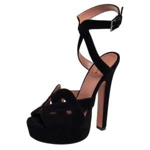 Alaia Black Suede Peep Toe Ankle Strap Platform Sandals Size 36