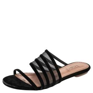 Alaia Black Suede And Mesh Slide Sandals Size 36