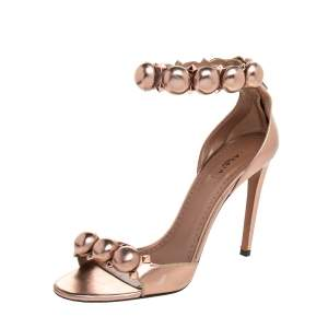 Alaia Metallic Rose Gold Leather Chamois Bombe Ankle Cuff Sandals Size 38