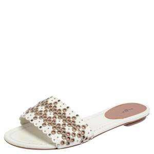 Alaia Off White Leather  Braided Eyelet Sandals Size 38