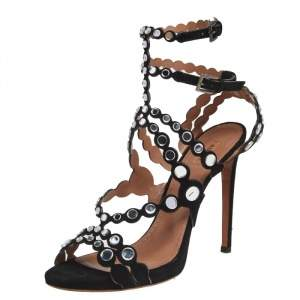 Alaia Black Mirror Embellished Suede Strappy Sandals Size 41