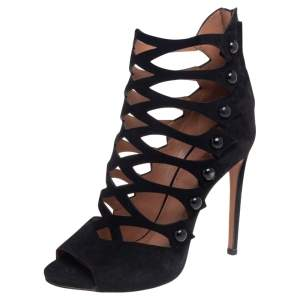 Alaia Black Suede Open Toe Caged Ankle Sandals Size 39