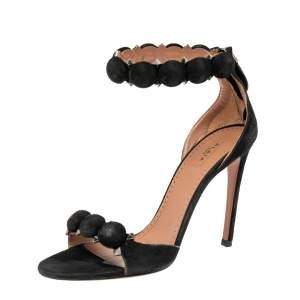 Alaia Black Suede Bombe Ankle Strap Sandals Size 37