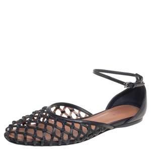 حذاء باليرينا فلات علايا جلد شبكة أسود سير كاحل مقاس 40