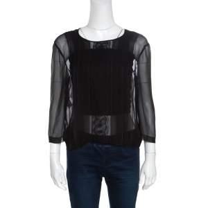 Alberta Ferretti Black Sheer Silk Lace Panel Detail Pleat Front Blouse M