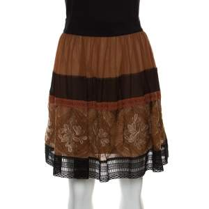 Alberta Ferretti Brown Silk Colorblock Lace Panel Detail Gathered Skirt L