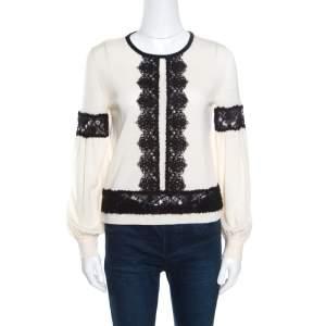 Alberta Ferretti Cream Wool Contrast Cutout Lace Insert Long Sleeve Sweater M