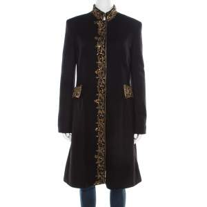 Alberta Ferretti Black and Gold Embellished Felted Wool Stand Collar Overcoat M
