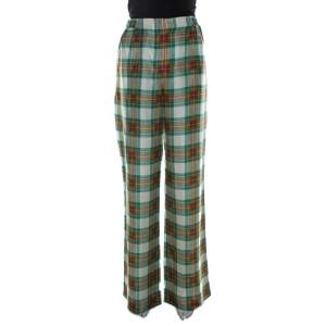 Alberta Ferretti Multicolor Plaid Silk High Waist Trousers M
