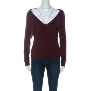 Alberta Ferretti Burgundy Cowl Neck Long Sleeve Top M