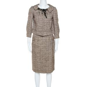 Alberta Ferretti Brown Tweed Short Blazer and Knee Length Skirt Set S