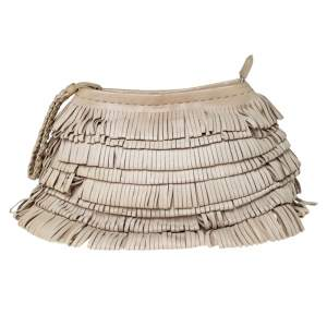 Alberta Ferretti Beige Leather Fringed Wristlet Clutch