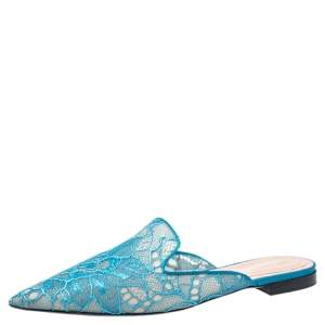 Alberta Ferretti Blue Lace And Satin Trim Flat Mules Size 40