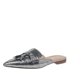 Alberto Ferretti Silver Textured Foil Leather Mia Flat Mules Size 38