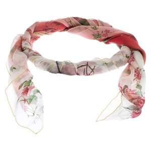 Alexander McQueen Red Botanical Print Ombré Silk Square Scarf