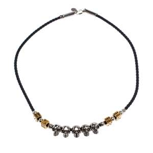 Alexander McQueen Skull Dice Motif Black Woven Leather Necklace